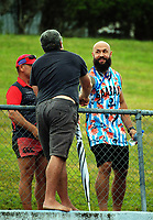 DJ Forbes mingles with sevens fans on day two of the 2018 Bayleys National Sevens at Rotorua International Stadium in Rotorua, New Zealand on Sunday, 14 January 2018. Photo: Dave Lintott / lintottphoto.co.nz