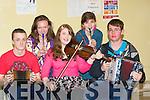 MUSIC: Brining music to the ears of the judges of The Feis Chiarrai? nGaelchola?iste Chiarrai?, at gaeil Scoil Colaistai?, Tralai?, on Saturday were the music group from Trali? Comhalta?s. L-r: Do?nal Mac Ant-Suthigh, Ca?it A?ine Ni? Chonchu?ir, Shelly Ni? Eidhin, Ciara Ni? Arraga?in agus Brian O?g Caball................................... ....