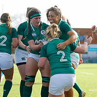 2nd February 2020; Energia Park, Dublin, Leinster, Ireland; International Womens Rugby, Six Nations, Ireland versus Scotland; Cliodhna Moloney of Ireland celebrates her try with team mates
