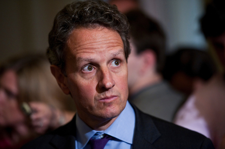 WASHINGTON, DC - July 14: Treasury Secretary Timothy F. Geithner during a news conference at the U.S. Capitol after the Senate Democratic caucus lunch meeting on debt limit negotiations. (Photo by Scott J. Ferrell/Congressional Quarterly)