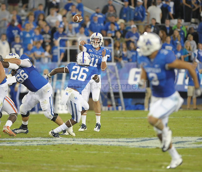 Freshman Maxwell Smith replaced Morgan Newton at quarterback in the fourth quarter of the University of Kentucky football game against Florida at Commonwealth Stadium in Lexington, Ky., on 9/24/11. UK lost the game 10-48. Photo by Mike Weaver | Staff