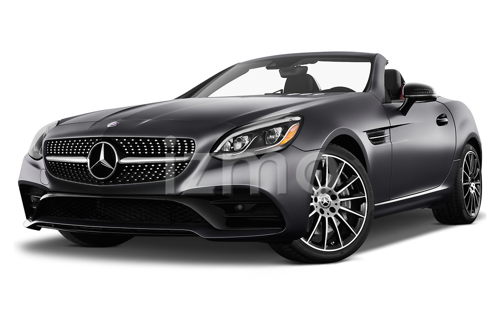Stock pictures of low aggressive front three quarter view of 2017 Mercedes Benz SLC SLC300 2 Door Convertible