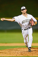 Relief pitcher Brett Macari #9 of the Gastonia Grizzlies in action against the Thomasville HiToms at Sims Legion Park on June 2, 2011 in Gastonia, North Carolina.  The Hi-Toms defeated the Grizzlies 9-4.  Photo by Brian Westerholt / Four Seam Images