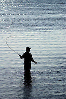 A man in waders, fly fishing in the Indian River by Grant, Florida in the mornin