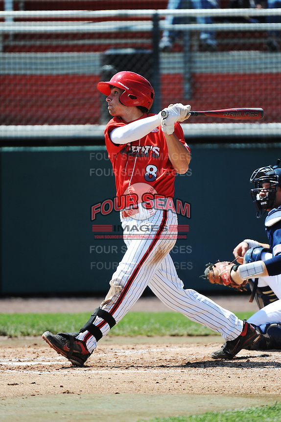 St. John's University Redstorm infielder Bret Dennis (8) during game against the University of Notre Dame Fighting Irish at Jack Kaiser Stadium on May 12, 2013 in Queens, New York. St. John's defeated Notre Dame 2-1.      . (Tomasso DeRosa/ Four Seam Images)