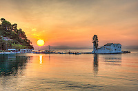 The sunrise in Panagia Vlacherna island at Corfu, Greece