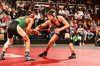 27 February 2006: Stanford's Tanner Gardner vs. Cal Poly's Chad Mendes during the  125 lbs. Pac-10 Wrestling Championships at Maples Pavilion in Stanford, CA.