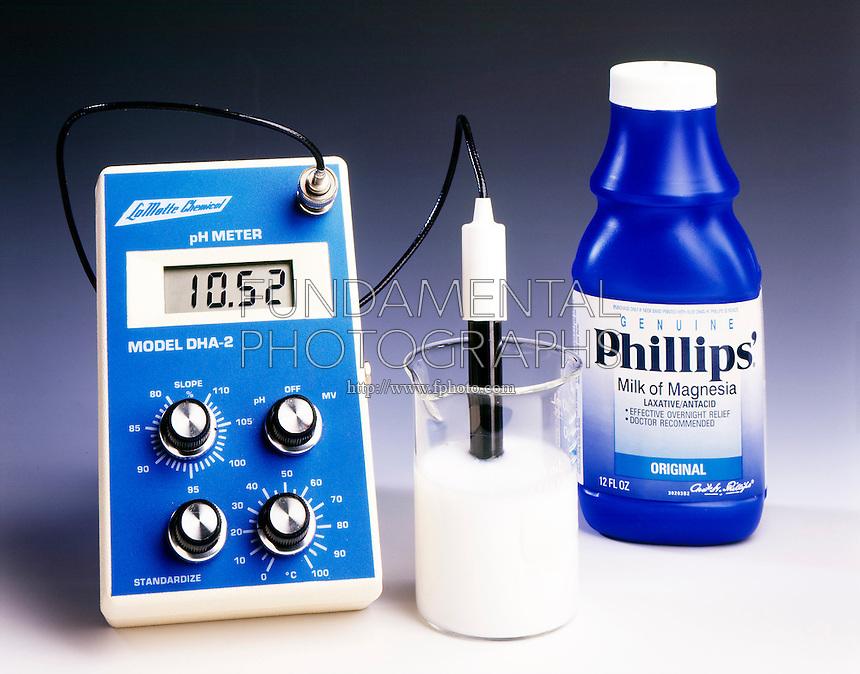 pH METER: MILK OF MAGNESIA & VINEGAR <br /> (1 of 2) Milk of magnesia. The pH of milk of magnesia is 10.52.