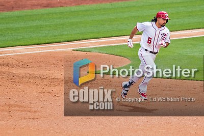 30 April 2017: Washington Nationals third baseman Anthony Rendon rounds the bases in the 3rd inning after hitting the first of his three home runs of the day against the New York Mets at Nationals Park in Washington, DC. The Nationals defeated the Mets 23-5, with the Nationals setting several individual and team records, in the third game of their weekend series. Mandatory Credit: Ed Wolfstein Photo *** RAW (NEF) Image File Available ***