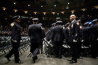29 December 2005 - New York City, NY - Recruits belonging to the New York Police Department's Class of 2005 take up their positions at the Madison Square Garden prior to the start of the graduation ceremony, 29 December 2005, New York City. 1,735 recruits were sworn in during the ceremony.
