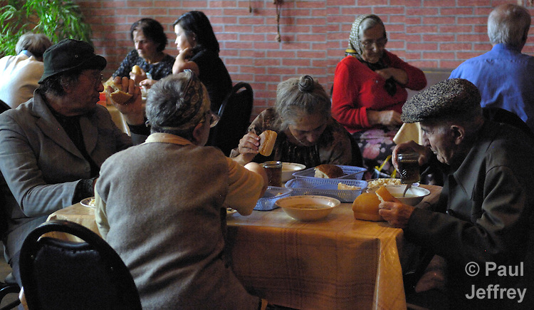 A church-run feeding program offers lunch for the poor in Tbilisi, the capital of Georgia.