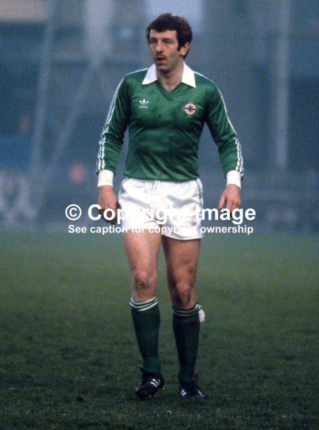 Gerry Armstrong, N Ireland & Watford, playing against Albania at Windsor Park, Belfast, 19830000GA2..Copyright Image from Victor Patterson, 54 Dorchester Park, Belfast, United Kingdom, UK...For my Terms and Conditions of Use go to http://www.victorpatterson.com/Victor_Patterson/Terms_%26_Conditions.html