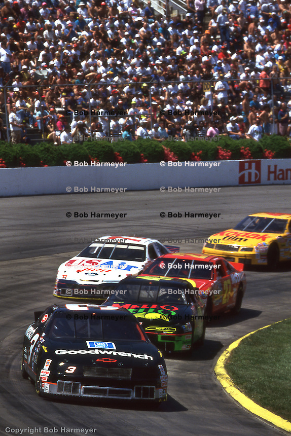 MARTINSVILLE, VA - APRIL 24: Dale Earnhardt leads a group of cars during the Hanes 500 on April 24, 1994, at Martinsville Speedway near Martinsville, Virginia.