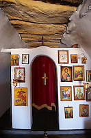 Interior of one of the 365  Greek Orthodox Chapels of Ios with religious icons. Cyclades Islands, Greece