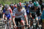 Davide Gaudu (FRA) Groupama-FDJ, UAE Team Emirates rider and Emanuel Buchmann (GER) Bora-Hansgrohe on the Ixua a brutal 20% off road climb during Stage 5 of the Tour of the Basque Country 2019 running 149.8km from Arrigorriaga to Arrate, Spain. 12th April 2019.<br /> Picture: Colin Flockton | Cyclefile<br /> <br /> <br /> All photos usage must carry mandatory copyright credit (&copy; Cyclefile | Colin Flockton)