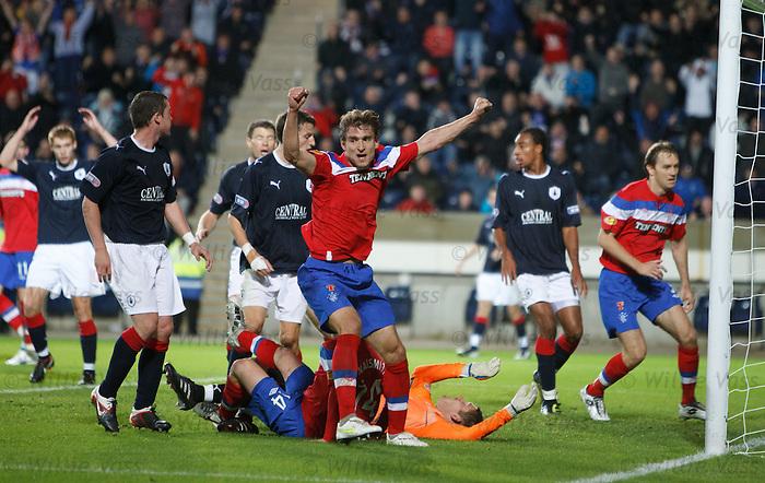 Nikica Jelavic celebratesnhis equalising goal for Rangers
