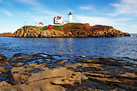 Nubble lighthouse at Cape Neddick, Maine. Digitally enchanced.