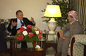 United States Secretary of Defense Donald H. Rumsfeld meets with Massoud Barzani and other leaders of the Kurdish Democratic Party in Sala Huddin, Iraq, on April 12, 2005.  Rumsfeld is in Iraq to visit with United States and coalition forces and to meet with the newly elected members of the Iraqi government.  <br /> Mandatory Credit: Cherie A. Thurlby / U.S. Air Force via CNP