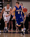 OMAHA, NE - Jake Bittle #4, South Dakota State guard, drives down the court during their game Thursday evening against the University of Nebraska at Omaha at Ralston Arena in Omaha, NE. (Photo By Ty Carlson/DakotaPress.org)