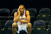 Dec. 16, 2011; Phoenix, AZ, USA; Phoenix Suns forward Grant Hill talks on a cell phone during media day at the US Airways Center. Mandatory Credit: Mark J. Rebilas-