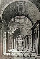 Italy: Rome: St. Peter's --Crossing showing Bernini's Baldacchino (1624-33).  Photo '85.