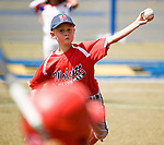 WATERBURY, CT-0712017JS17--Wolcott's Chase Gullick (7) delivers a pitch during their Roberto Clemente World Series game against Puerto Rico Thursday at Municipal Stadium in Waterbury. <br /> Jim Shannon Republican-American
