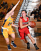 Camryn Monfort #10 of Syosset, right, gets pressured by Helena Salmon #15 of Massapequa during the Nassau County varsity girls basketball Class AA semifinals at LIU Post on Saturday, Feb. 25, 2017. Massapequa won by a score of 48-44.