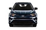 Car photography straight front view of a 2018 Toyota RAV4 Black edition Hybride 5 Door SUV