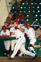Adam Landecker #2 of the USC Trojans bats against the Arizona State Sun Devils at Dedeaux Field on April 12, 2013 in Los Angeles, California. USC defeated Arizona State, 5-0. (Larry Goren/Four Seam Images)