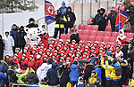 The North Korean choir kept the media and spectators entertained. Womens Slalom. Alpine Skiing. Yongpyong alpine centre. Pyeongchang2018 winter Olympics. Alpensia. Republic of Korea. 14/02/2018. ~ MANDATORY CREDIT Garry Bowden/SIPPA - NO UNAUTHORISED USE - +44 7837 394578