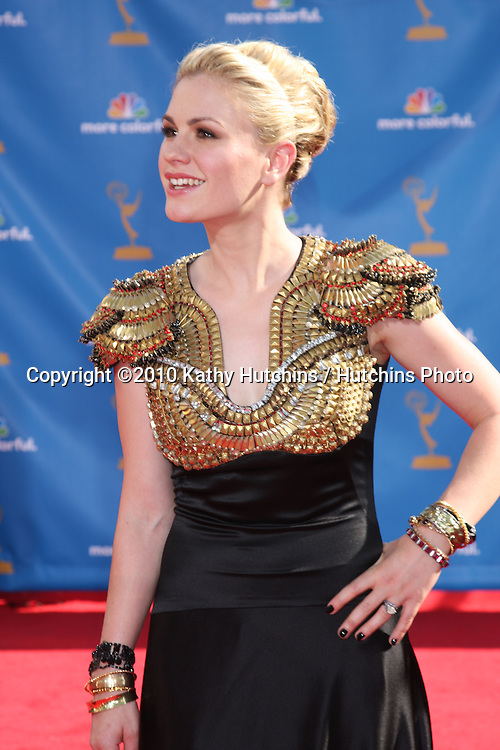 LOS ANGELES - AUG 29:  Anna Paquin arrives at the 2010 Emmy Awards at Nokia Theater at LA Live on August 29, 2010 in Los Angeles, CA