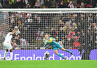 9th November 2019; Wembley Stadium, London, England; International Womens Football Friendly, England women versus Germany women; Nikita Parris of England takes the penalty which is saved by Merle Frohms of Germany - Editorial Use