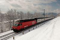 Winterlandschaft S-Bahn FLIRT faehrt Richtung Ebikon am 13. Februar 2009 beim Rotsee Luzern.<br /> <br /> Copyright Zvonimir Pisonic &copy; 2009