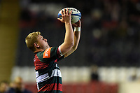 Jake Kerr of Leicester Tigers looks to throw into a lineout. Heineken Champions Cup match, between Leicester Tigers and the Scarlets on October 19, 2018 at Welford Road in Leicester, England. Photo by: Patrick Khachfe / JMP