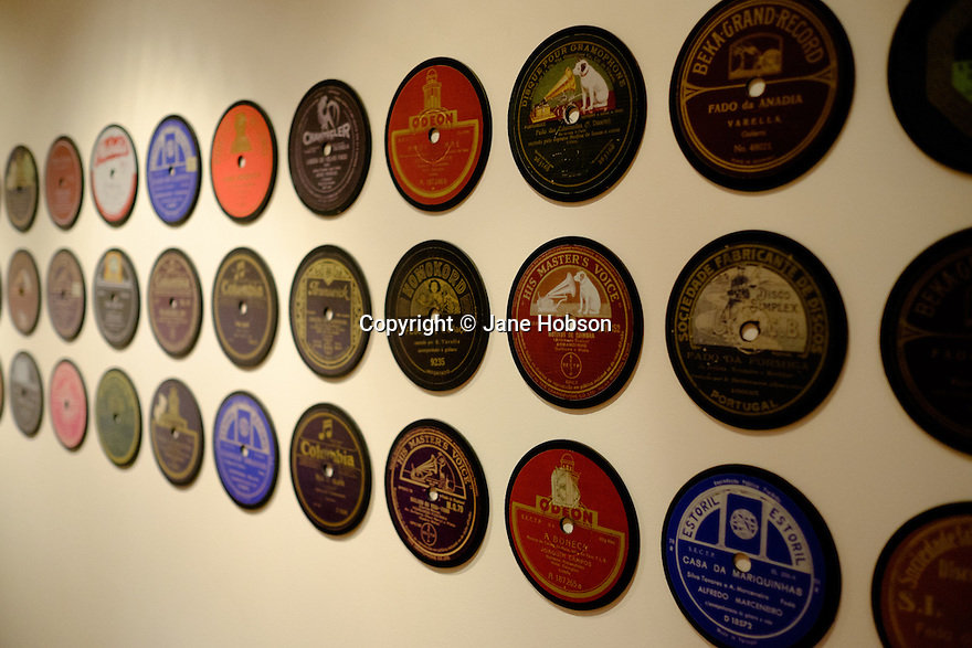 Lisbon, Portugal. 21.03.2015. The centres of Fado recording, on the wall in the Museu do Fado, in the Alfama district of Lisbon. © Jane Hobson.