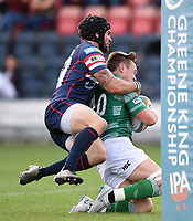 Brett Connon of Newcastle Falcons is tackled. Pre-season friendly match, between Doncaster Knights and Newcastle Falcons on August 25, 2018 at Castle Park in Doncaster, England. Photo by: Patrick Khachfe / Onside Images