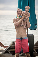 NAMOTU, Fiji (Friday, June 9, 2017) Owen Wright with son Vali- A lay day has been called at Stop No. 5 on the 2017 World Surf League (WSL) Championship Tour (CT), the Outerknown Fiji Pro, due to small surf on offer today. <br /> <br /> &quot;The swell we were looking at for today never materialized the way we had hoped,&quot; said WSL Deputy Commissioner, Renato Hickel. &quot;The waves are only three-to-four foot out at Cloudbreak now, so we are calling the event off for the day. We are going to provide updates later on what we are looking at in the long-range forecast. There is a really good swell shaping up for late Sunday, early Monday and Tuesday of next week. There is a good chance that we will run the last two days of the event those days.&quot;<br /> <br /> Location:      Tavarua/Namotu, Fiji<br /> Event window:   June 4 - 16, 2017<br /> Today's call:<br />    Competition called OFF for the day <br /> Conditions:        3 - 4 foot (1 - 1.2 metre)<br /> <br /> Photo: joliphotos.com