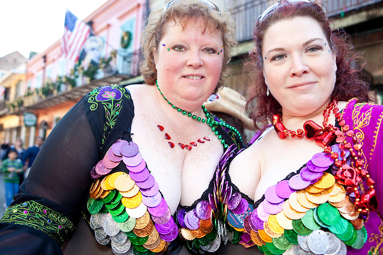 Revelers enjoy Bourbon Street during Mardi Gras in New Orleans on February 14, 2010.