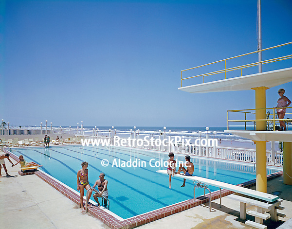Desert Inn, Daytona Beach, Florida. Olympic size swimming pool with low & high diving boards.