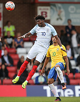 Ainsley Maitland-Niles (Arsenal) of England heads forward during the International match between England U20 and Brazil U20 at the Aggborough Stadium, Kidderminster, England on 4 September 2016. Photo by Andy Rowland / PRiME Media Images.