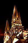 SPIRE OF GUADALAJARA CATHEDRAL LIGHT UP AT NIGHT