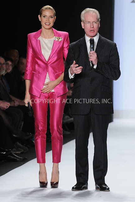 WWW.ACEPIXS.COM . . . . . ....February 20 2009, New York City....Model and TV personality Heidi Klum and TV personality Tim Gunn at the Project Runway Fall 2009 fashion show during Mercedes-Benz Fashion Week in the Promenade at Bryant Park on February 20, 2009 in New York City. ....Please byline: KRISTIN CALLAHAN - ACEPIXS.COM.. . . . . . ..Ace Pictures, Inc:  ..(212) 243-8787 or (646) 679 0430..e-mail: picturedesk@acepixs.com..web: http://www.acepixs.com