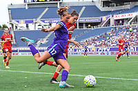 Orlando, FL - Sunday June 26, 2016: Dani Weatherholt, Emily Menges  during a regular season National Women's Soccer League (NWSL) match between the Orlando Pride and the Portland Thorns FC at Camping World Stadium.