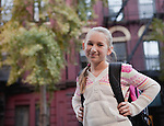 USA, New York State, New York City, Portrait of girl (10-11) with backpack