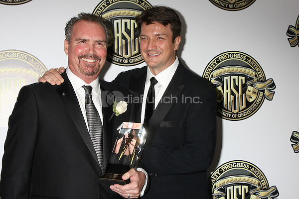 CENTURY CITY, CA - FEBRUARY 15: Bill Roe, Nathan Fillion at the 2015 American Society of Cinematographers Awards at Century Plaza Hotel in Century City, California on February 15, 2015. Credit: David Edwards/DailyCeleb/MediaPunch