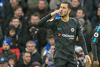 Eden Hazard of Chelsea (10) Celebrates scoring his sides third goal and blows a kiss to the Chelsea fans  during the Premier League match between Brighton and Hove Albion and Chelsea at the American Express Community Stadium, Brighton and Hove, England on 20 January 2018. Photo by Edward Thomas / PRiME Media Images.