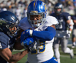 San Jose State running back Tyler Nevens, right, is hit by Nevada's Ahki Muhammad in the first half of an NCAA college football game in Reno, Nev. Saturday, Nov. 11, 2017. (AP Photo/Tom R. Smedes)