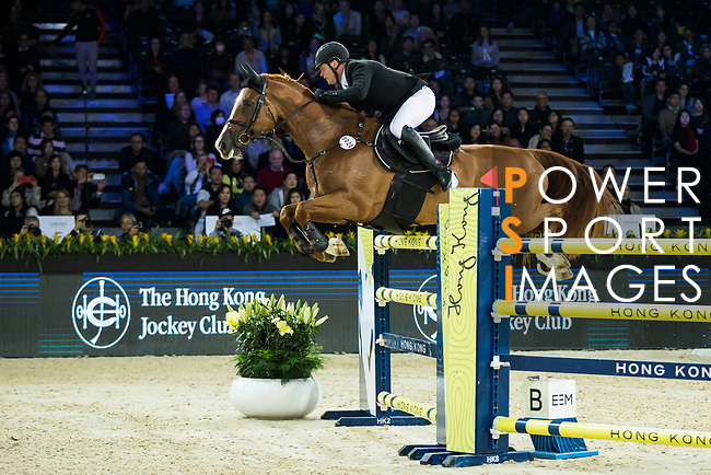 Billy Raymont of Australia riding Oaks Redwood competes in the Longines Speed Challenge during the Longines Masters of Hong Kong at AsiaWorld-Expo on 10 February 2018, in Hong Kong, Hong Kong. Photo by Ian Walton / Power Sport Images