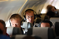 Wednesday 07 August 2013<br /> Pictured: Gerhard Tremmel on the aeroplne, en rout to Malmo.<br /> Re: Swansea City FC travelling to Sweden for their Europa League 3rd Qualifying Round, Second Leg game against Malmo.