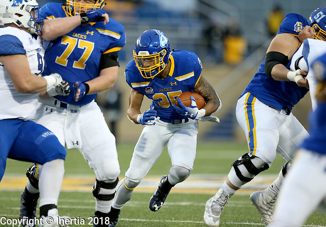 BROOKINGS, SD, OCTOBER 6: Isaac Wallace #35 from South Dakota State University looks for a hole to run through against Indiana State during their game Saturday night at Dana J. Dykhouse Stadium in Brookings. (Dave Eggen/Inertia)